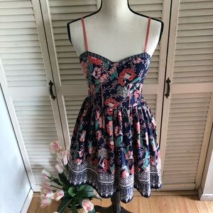 BAND OF GYPSIES Navy Floral Bustier Mini Dress